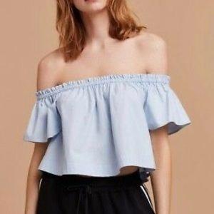 ARITZIA Blouse Crop Top Off Shoulder Blue S